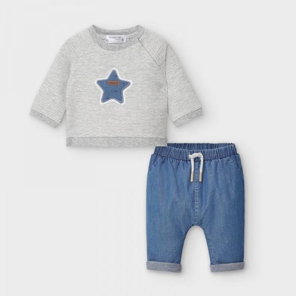 Комплект подплатен панталон и блузка за новородено момче