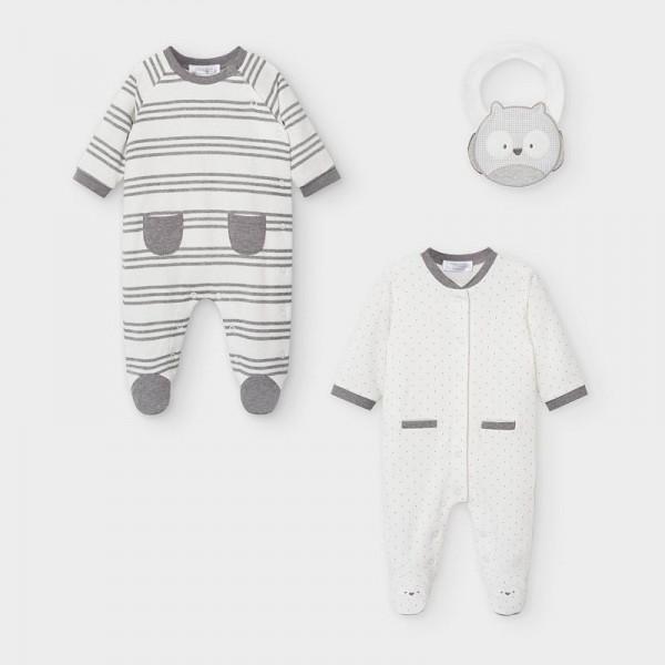Комплект от 2 памучни гащеризона и лигавник за новородено момче