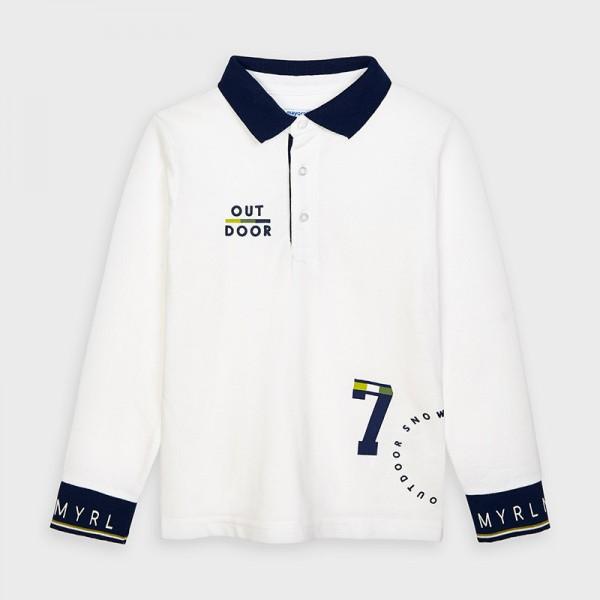 Поло блуза с контрастни детайли за момче
