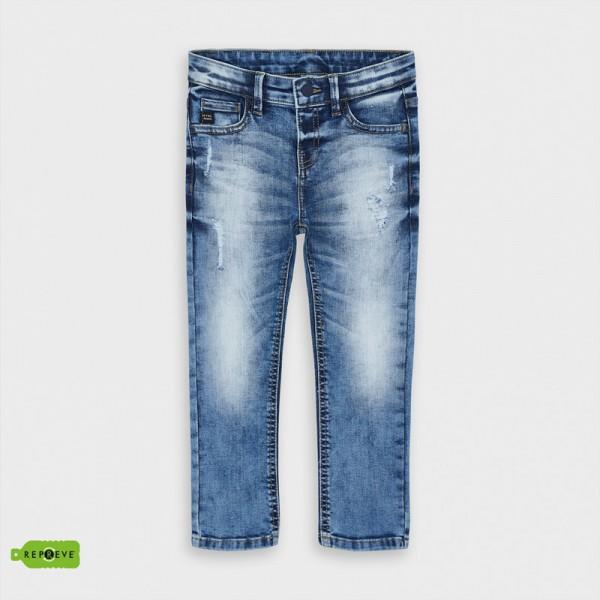 Дълъг дънков панталон loose fit с накъсан ефект за момче