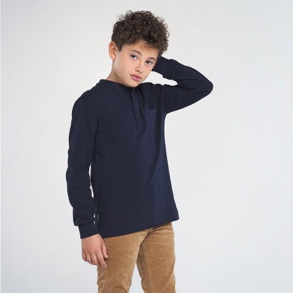 Блуза с кръгла яка и копчета за момче