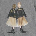 Блуза с принт момичета в гръб за момиче