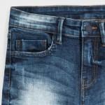 Дънков панталон loose fit с разрези за момче