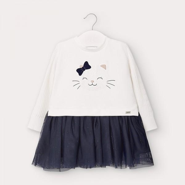 Комбинирана рокля от тюл с коте за бебе момиче