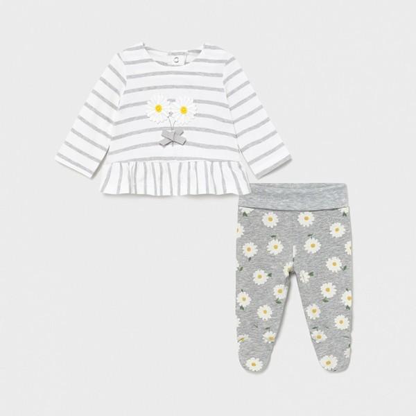 Комплект маргаритки на райета с ританки за новородено момиче