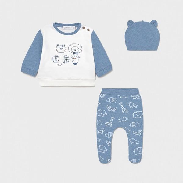 Комплект животни с ританки и шапка за новородено момче