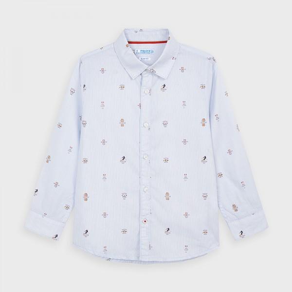 Риза с дълъг ръкав и щампи за момче