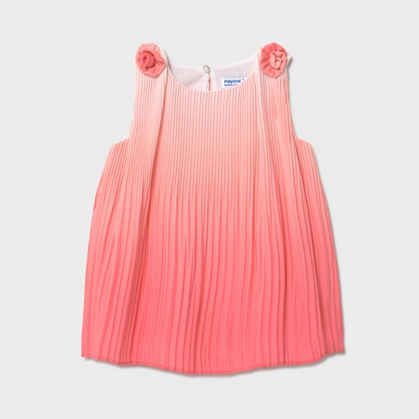 Плисирана рокля с ефект омбре за бебе момиче