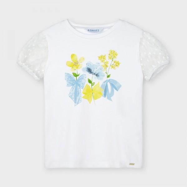 Тениска цветя с къс ръкав от плумети за момиче