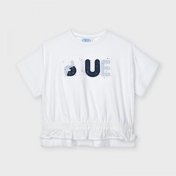 Тениска с къс ръкав и апликация Blue за момиче