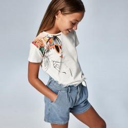 Тениска с възел за момиче-тийн серия