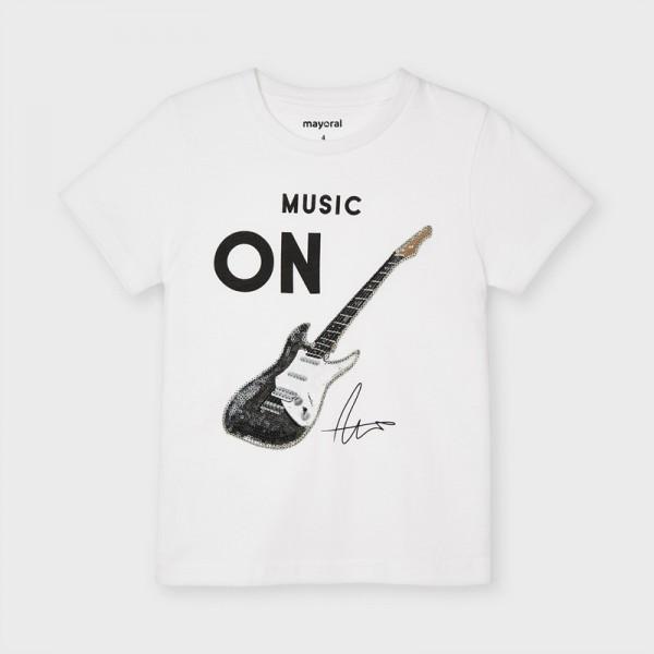 Тениска с китара с пайети за момче
