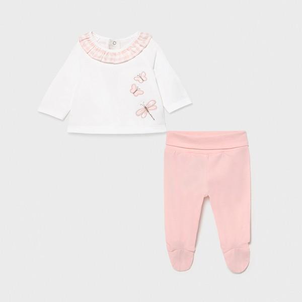 Комплект зайче с ританки и къдрички за новородено момиче