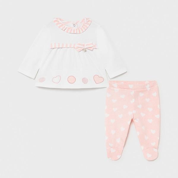 Комплект със панделка и  ританки за новородено момиче