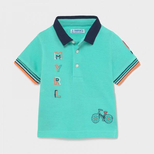 Поло тениска с къс ръкав и бродерии за бебе момче