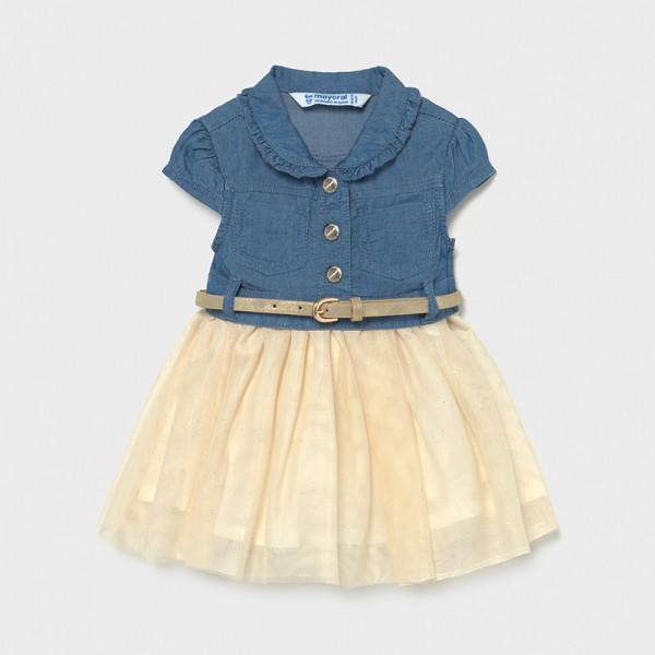 Комбинирана рокля от деним с тюл за бебе момиче