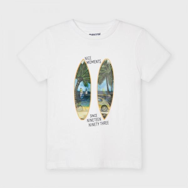 Тениска с апликация дъски за сърф за момче