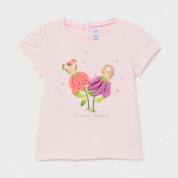 Тениска Ecofriends с флорални апликации за бебе момиче