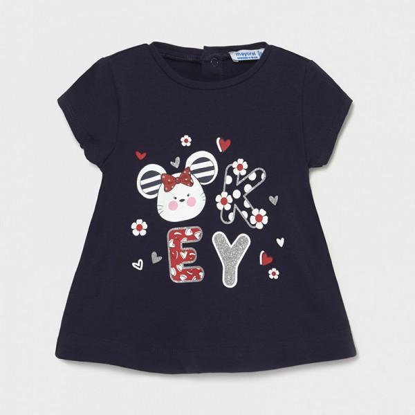 Тениска Ecofriends с принт цветя и ръкави с волани за бебе момиче