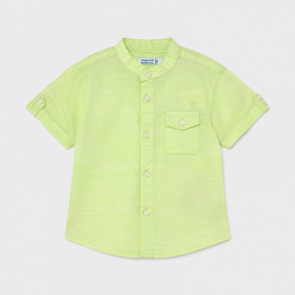 Риза от лен и яка тип мандарин за бебе момче