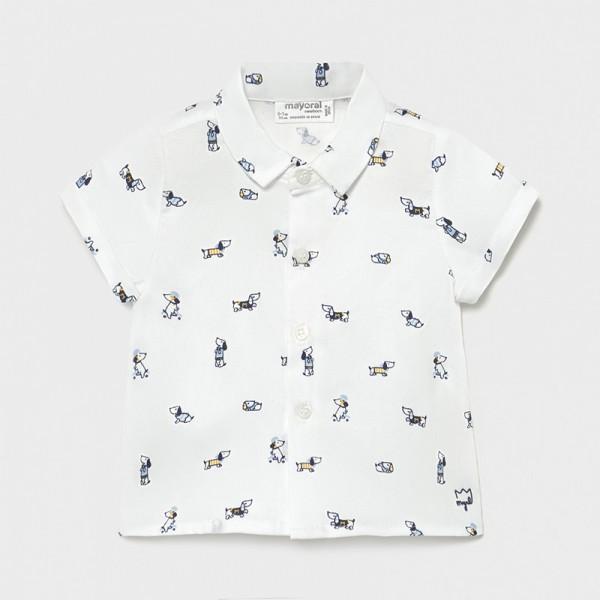 Риза с къс ръкав кученца за новородено момче