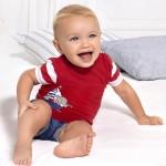 Комплект с дънков къс панталон за новородено момче