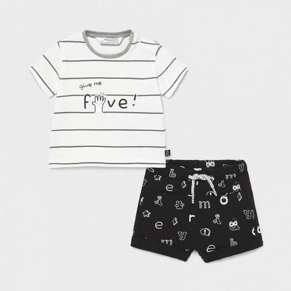 Комплект с къс трикотажен панталон с щампа за новородено момче