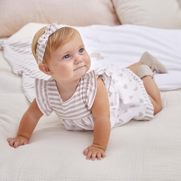 Комбинирана трикотажна рокля за новородено момиче