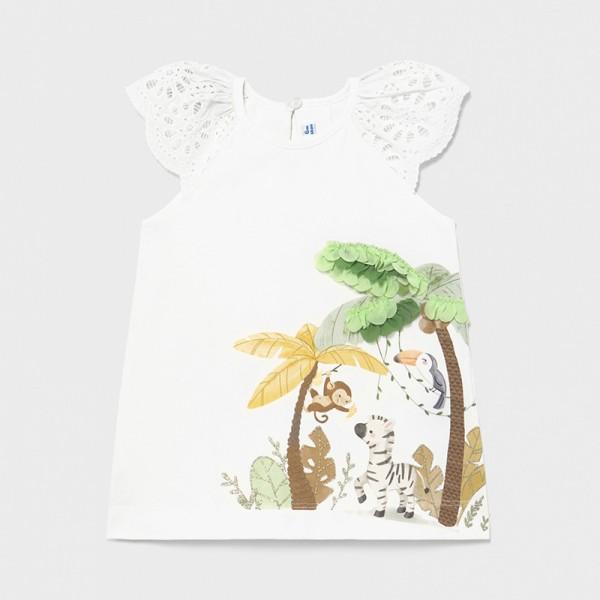 Трикотажна рокля с весел принт за бебе момиче