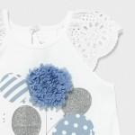 Трикотажна рокля с весел принт и апликация за бебе момиче