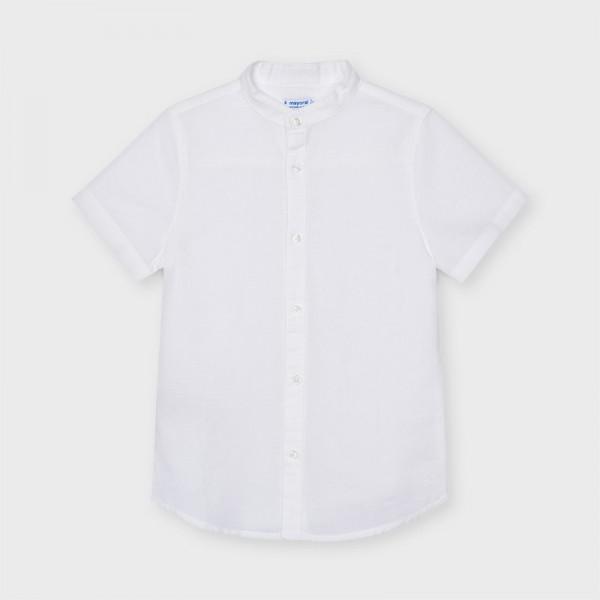 Риза от лен с яка тип мандарин за момче