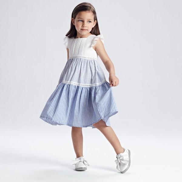 Комбинирана рокля на райета за момиче