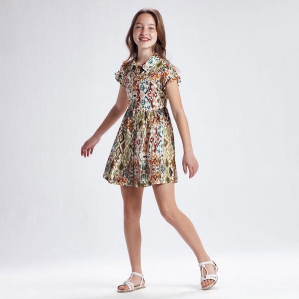 Памучна рокля с щампа за момиче -тийн серия
