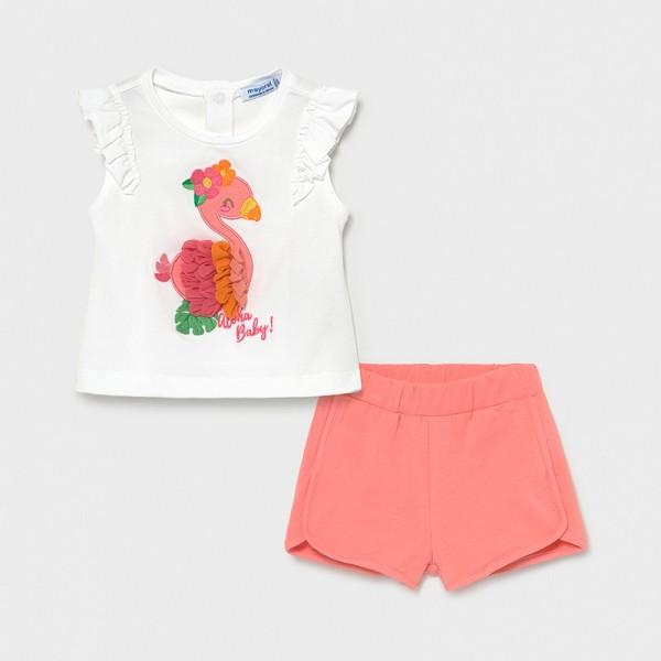 Комплект с къси панталони и апликация за бебе момиче  Aloha baby