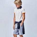 Поло тениска с къс ръкав и микро щампи за момче-тийн серия