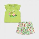 Комплект с къси панталони жабка за бебе момиче