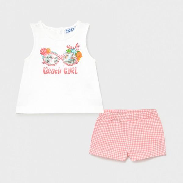 Комплект с къси панталони Beach girl за бебе момиче