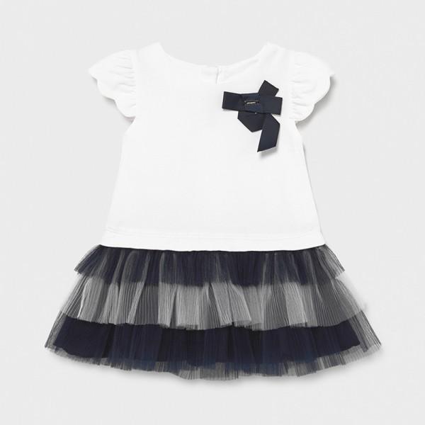 Комбинирана рокля от трикотаж и тюл за бебе момиче
