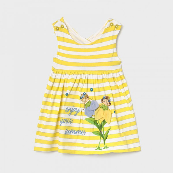 Рокля на райета и цветя за бебе момиче