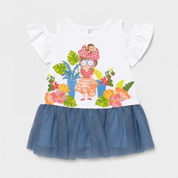 Комбинирана рокля с принт и тюл за бебе момиче