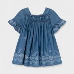 Лека дънкова рокля за бебе момиче