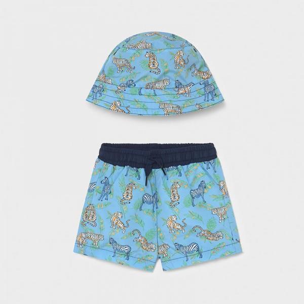 Комплект бански и шапка за бебе момче