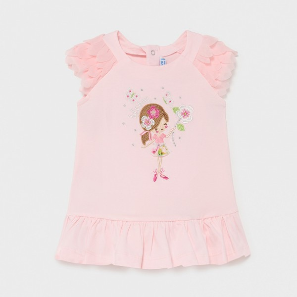 Трикотажна рокля с волани за бебе момиче