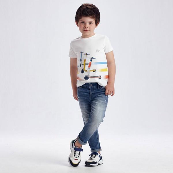 Дълъг панталон straight fit с кръпки за момче
