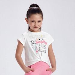 Тениска с къс ръкав и възел за момиче
