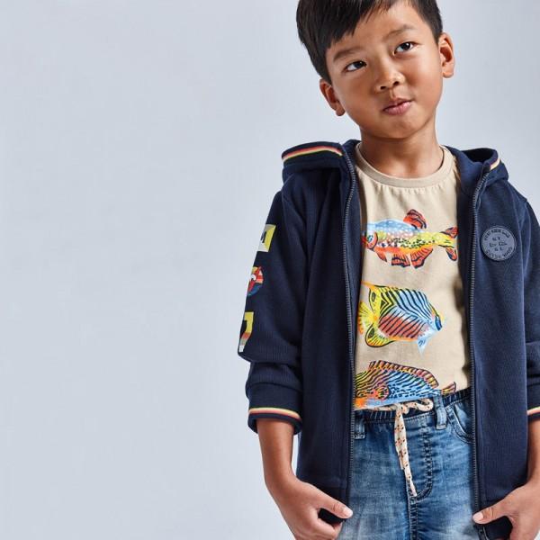 Тениска с принт риби за момче