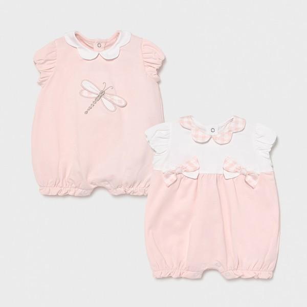 Комплект от 2 къси гащеризона с панделки за новородено момиче
