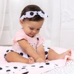 Трикотажен гащеризон с диадема за новородено момиче