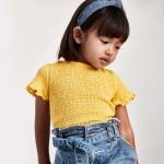 Тениска с  дизайн тип пчелна пита за момиче