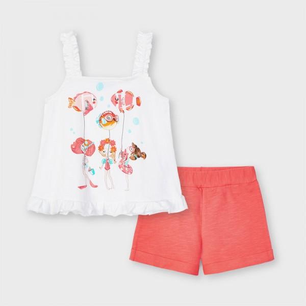 Комплект рибки с къси панталони за момиче